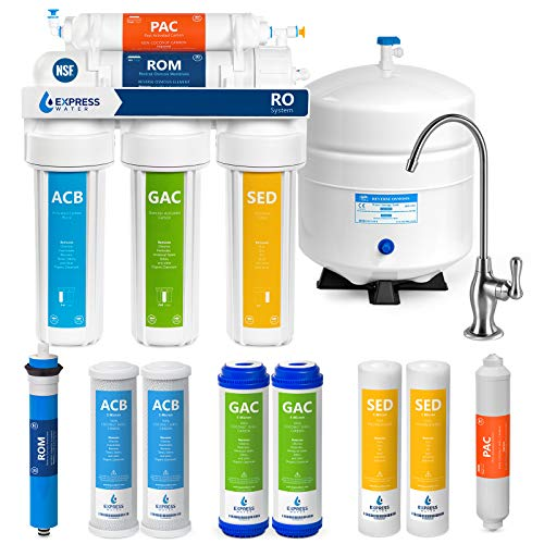 Express Water RO5DX Reverse Osmosis Filtration NSF Certified 5 Stage RO System with Faucet and Tank – Under Sink Water Plus 4 Filters – 50 GPD, 14 x 15 x 5, White