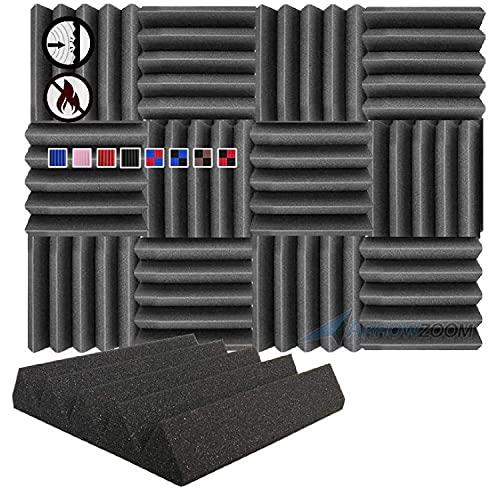 Arrowzoom 12 Paneles acusticos absorcion sonido Wedge Cuna Wedge 25x25x5cm Espuma acustica aislamiento acustico estudio de grabacion Casas Estudios Azulejos Incombustibles Insonorizados Negro