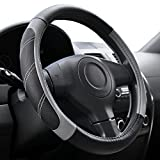 Elantrip Sport Leather Steering Wheel Cover 14 1/2 inch to 15 inch Universal, Padded Soft ...
