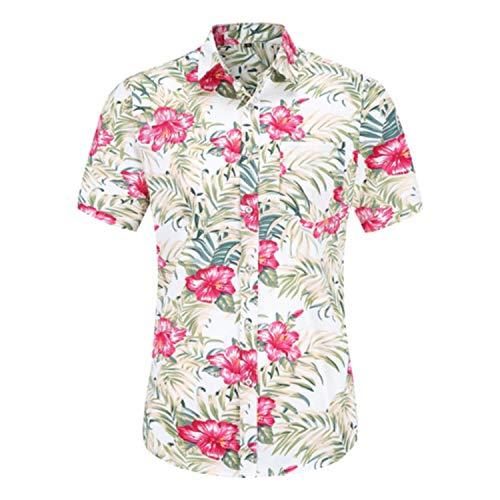 Camisa de manga corta para hombre con estampado floral de verano y cuello superior de los hombres de moda masculina