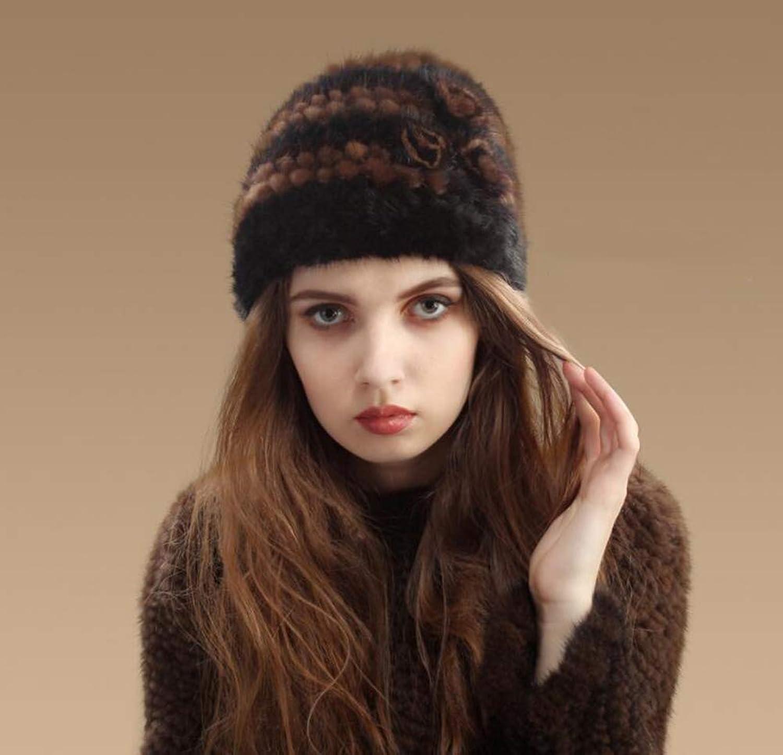 Cashmere Hat Plush Beanie Hat Fashion Woven Mink Fur Straw Hat Thick Warm Earmuffs Spring and Autumn Winter Ladies Suitable,blackbrown