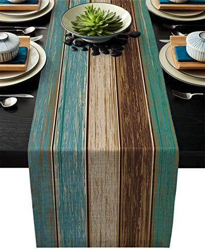 Cotton Linen Table Runner Dresser Scarves Retro Rustic Barn Wood Teal Green Brown Non Slip Burlap product image
