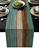 Cotton Linen Table Runner Dresser Scarves Retro Rustic Barn Wood&Teal Green Brown Non-Slip Burlap Rectangle Table Setting Decor for Farmhouse Wedding Party Holiday Dinner Home, (13X70 Inch)