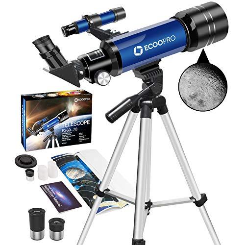 Telescopio para niños Principiantes, telescopio Refractor de astronomía de 70 mm con trípode Ajustable y Bolsa de Transporte- Alcance de Viaje portátil para niños Adultos