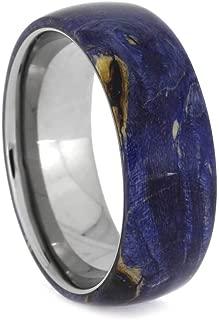 Jewelry By Johan Blue Wedding Band, Box Elder Burl Wood Ring in Titanium