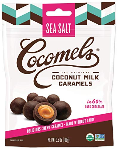 Cocomels Chocolate Sea Salt Caramel Bites, Organic Candy, Dairy Free, Vegan, Gluten Free, Non-GMO, No High Fructose Corn Syrup, Kosher, Plant Based, (1 Pack)