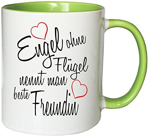 Mister Merchandise Kaffeebecher Tasse Engel ohne Flügel nennt Man Beste Freundin BFF Freund Mädchen Freundschaft Friends Teetasse Becher Weiß-Grün