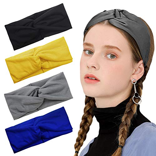 Workout Headband Yoga Elastic Hair Bands Exercise Running Sports Non Slip Sweat Absorbing Headbands Suitable for Men and Women, Style 6 (4 Pcs)