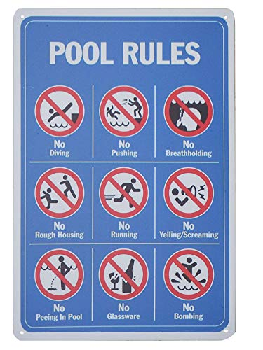 """Monifith Poolregeln-Schild \""""No Diving No Pushing No Running No Peeing for Commercial Swimming Pools Hof-Schilder 20,3 x 30,5 cm"""