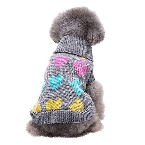 Yowablo Haustier Hund Katze Winter Warm Liebe Pullover Mantel Kostüm Kleidung (L,1- Grau)