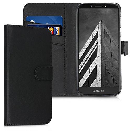 kwmobile Motorola Moto E5 Plus Hülle - Kunstleder Wallet Case für Motorola Moto E5 Plus mit Kartenfächern & Stand - Schwarz