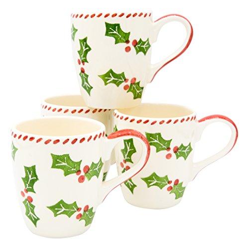 Euro Ceramica Natal Collection - Juego de 4 tazas de café y té (cerámica), diseño navideño