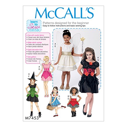 McCall's M7453 Girl's Fairy, Witch, Pirate, Angel, and Other Characters Halloween Costume Sewing Patterns, Sizes 3-6