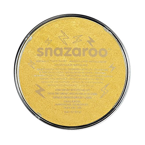 Snazaroo 1118777 Kinderschminke, hautfreundliche hypoallergene Gesichtschminke auf Wasserbasis, wasservermalbar, parabenfrei, metallic - gold, 18 ml Topf
