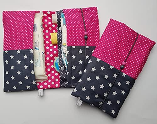 Windeltasche dunkelgraue Sterne und farbige Pünktchen (pink)