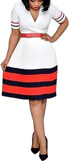 VERWIN Patchwork Short Sleeve V-Neck Color Block A-Line Women's Day Dress Midi Dress M