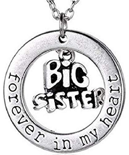 Collar Colgante Escrito para Siempre en mi Hermana Grande del corazón - Hermana Siempre en mi corazón - Joyas de Plata Idea del Regalo de la Fiesta de la Amistad del Amor del corazón Familia A
