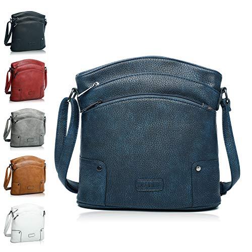 Handtasche Damen - veganes leder- Umhängetasche Blau , Schultertasche, kleine Tasche - 25x26x5 cm