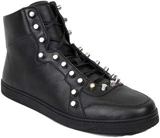 c37aa3b340f4 Gucci Black Sttuded Leather High Top Sneaker 411774 1000