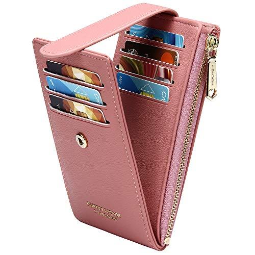 Badiya RFID Card Holder Wallet for Women Slim Wallets Bifold Multi Card Case Zipper Coin Purse