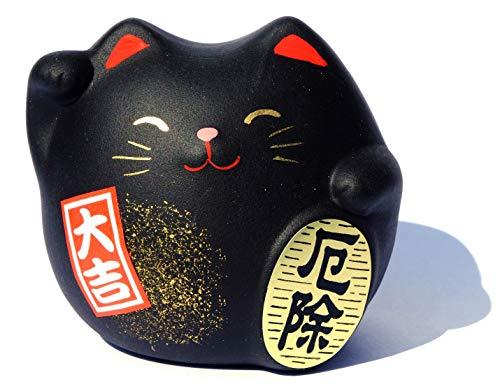 Chat Maneki Neko Feng Shui de la protection Noir