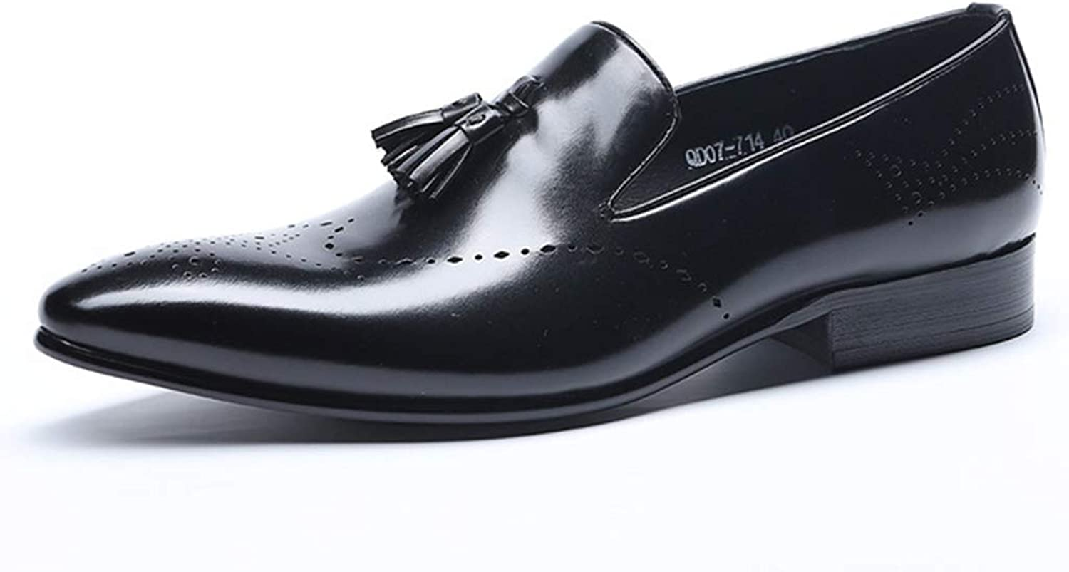 Men's Dress Brogues shoes Wedding Pointed Toe Brogue shoes Business Casual Comfortable Soft shoes