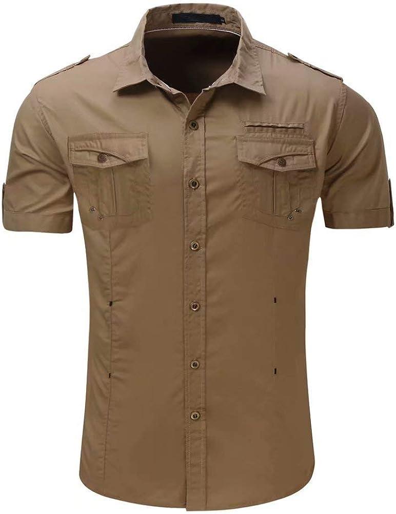 Wxian Men's Button Down Casual Short Sleeve Cotton Shirts