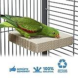 HappyBird ® | Eck-Sitzbrett für Wellensittiche & Papageien zum schreddern aus Wellpappe Large | ca. 20 x 20 x 4cm