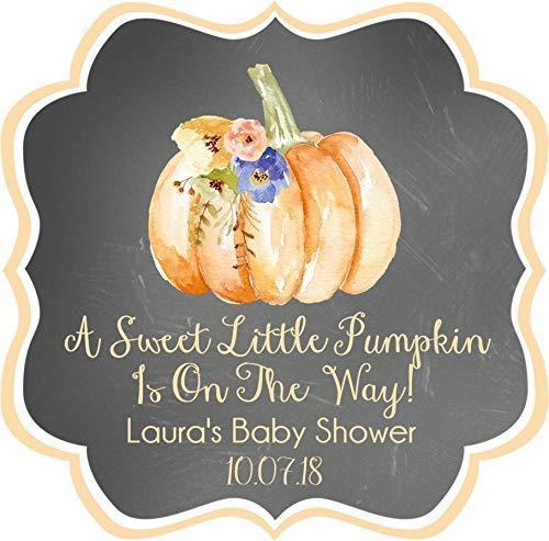 Orange Watercolor Fall Pumpkin Baby Shower Favor Stickers, Fall Pumpkin Baby Shower Favor Tags, Fall Pumpkin Baby Shower Decorations, Gender Neutral Fall Pumpkin Baby Shower Supplies