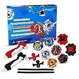 Innoo Tech 6pcs Toupie Burst Set, 6 Toupies avec 2 Lanceurs pour Enfants Adulte, Toupie Gyro de Combat Métal Fusion