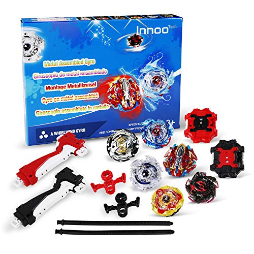 Innoo Tech 6 Stück Kampfkreisel Set, 4D Fusion Modell Metall Masters Beschleunigungslauncher, Speed Kreisel, tolles Kinder Spielzeug (6 Stück)