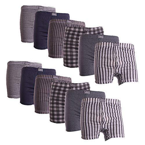 12 paires de boxers pour homme Mélange de coton Imprimé - multicolore - Large
