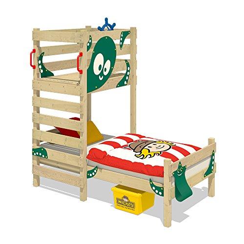 WICKEY Cama para jugar CrAzY Octopus Cama infantil 90 x 200 Cama individual de madera conjugar pedestal para niños y niñas con somier de madera, verde