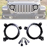 BEIJIAOFLY 2PCS 9 Inch Round Black Omni-Directional Aluminium Alloy 7'' Headlight Mounting Brackets Adapter Rings Replacement for 2018 Jeep Wrangler JL (Adapter Included)