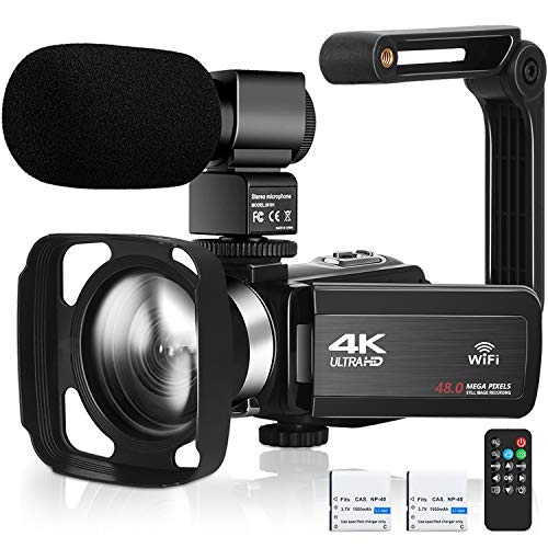 4K UHD Video Camera for YouTube Vlogging Live Streaming Build-in Fill Light with Microphone & Remote Control WiFi Camcorder Webcam 16× Digital Zoom 3.0