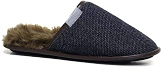 Dunlop Mens Famous Slippers New Slip On Faux Sheepskin Fur Cosy Slippers with Memory Foam