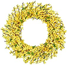 HONG YU Artificial Forsythia Flower Wreath, Yellow Flower Front Door Wreath Winter Jasminum Wreath for Wedding Home Wall Decor