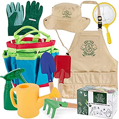 Kids Gardening Tools, 10 Piece - Premium Garden / Backyard Tool Set with Gloves, Apron, Rake, Hat, Shovel, Trowel, Watering Can, Spray Bottle, Butterfly Net & Tote - Outdoor Toys for Boys & Girls