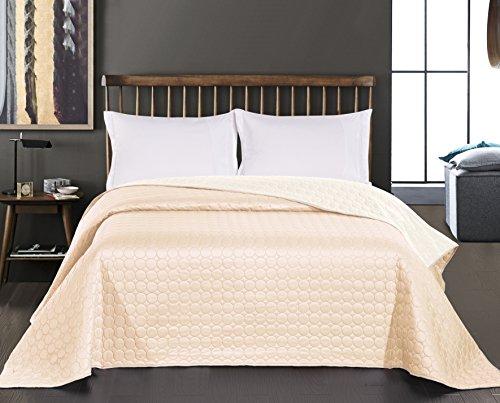 DecoKing Premium 11911 Tagesdecke 170 x 210 cm Ecru beige Bettüberwurf Kreisen zweiseitig leicht zu pflegen Salice