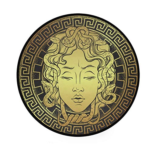 Tarity Teppich Gold Medusa Muster Modern Rechteck Rutschfest Boden Teppich Innen Zimmer Dekorative Teppiche für Wohnzimmer Schlafzimmer Spielzimmer (91,9 x 91,9 cm)