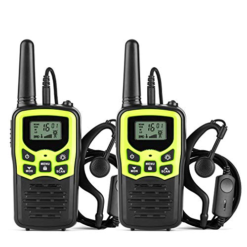 Ankreu Walkie Talkies for Adults &Kids Long Range Walkie Talkie 2 Way Radio up to 5 Miles Range in The Open Fields 22 Channel FRS/GMRS UHF Handheld Walky Talky with Headsets/Earpieces 2 Pack Green