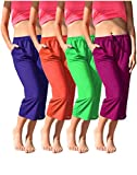 Women's 4 Pack Casual Active Relaxed Flowy Fit Capri Semi Sheer Cropped Bermuda Short Pants (4 Pack - Neon- Green/Purple/Red/Pink, X-Large)