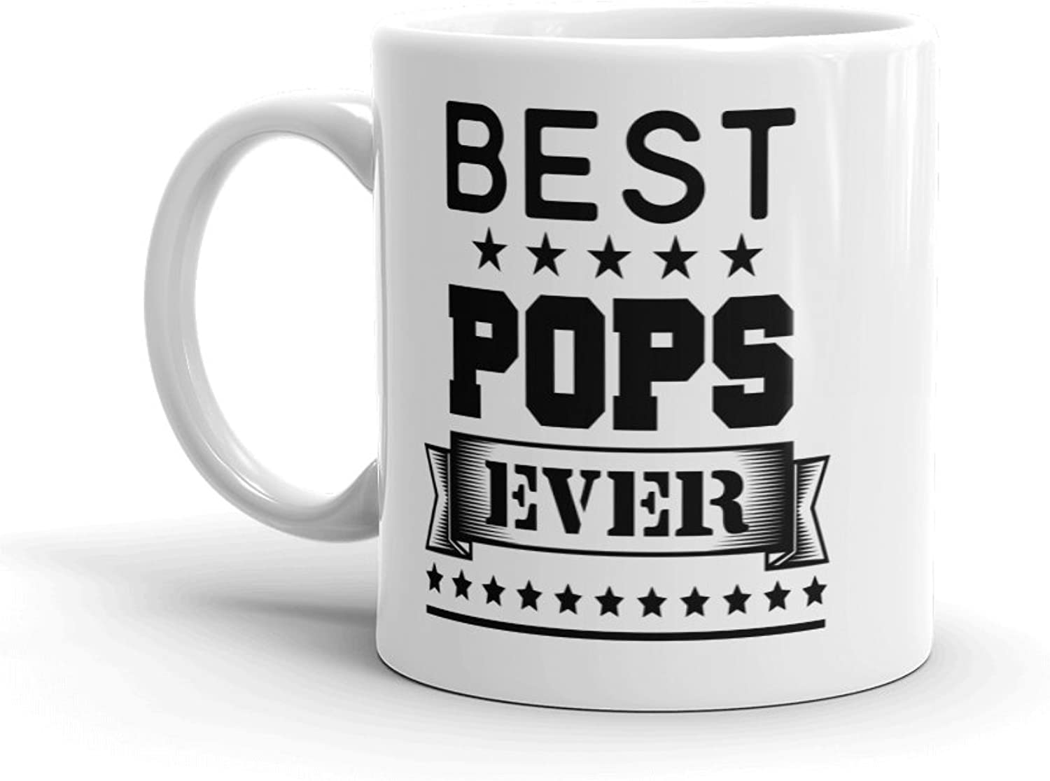 Unique Ceramic Coffee Mug Cup (11 oz.)  Best Pops Ever  Birthday Father's Day Christmas Gift for Dad Father Grandpa
