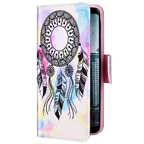 Uposao Kompatibel mit Samsung Galaxy S20 Hülle Leder Wallet Schutzhülle Brieftasche Hülle Bunt Retro Muster Flip Case Leder Tasche Handytasche Magnet Ständer Kartenfächer,Traumfänger
