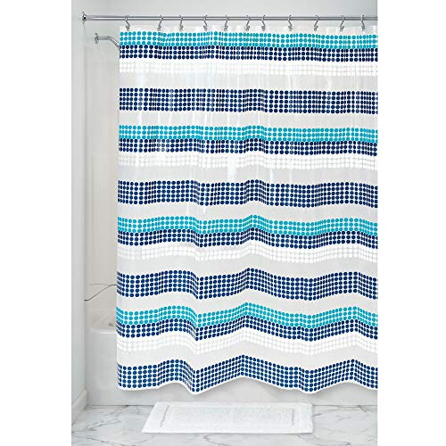 Price comparison product image iDesign Zoey Stripe Shower Curtain,  Patterned Wide Shower Curtain for the Bath Made of PEVA with Reinforced Eyelets,  White and Blue