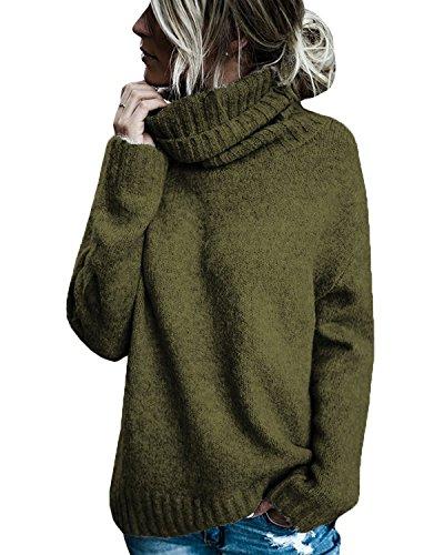 Gemijacka Strickpullover Damen Rollkragenpullover Damen Gestrickt Langarmshirts Casual Sweater Oberteile Damen Pulli