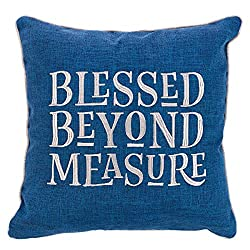 blessed beyond measure blue pillow