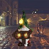Elandkids Statue de nain de jardin – Bienvenue nain avec lumière solaire – Statue de jardin en résine – Décoration de jardin – Statue d'extérieur pour cour, pelouse