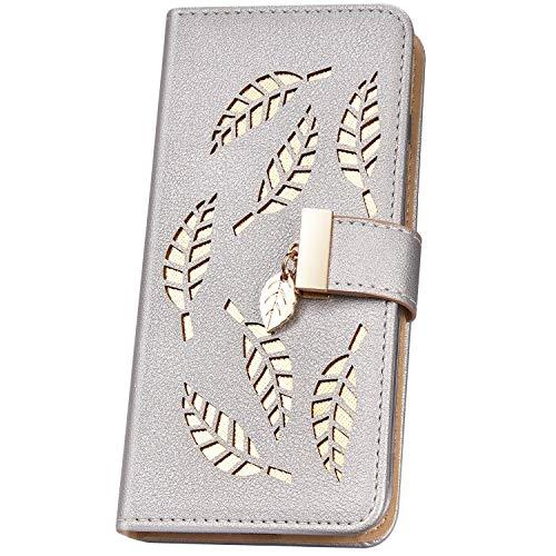 JAWSEU Cover Samsung Galaxy Grand Prime G530 in PU Pelle Portafoglio a Libro Folio Wallet Custodia Brillantini Glitter Magnetico Flip Cover con Porta Carte Antiurto Protettiva Cover,argento