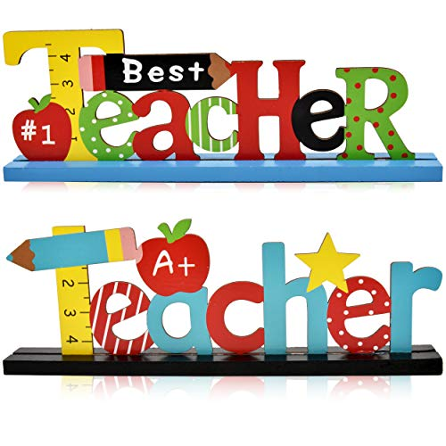 Teacher Appreciation Table Toppers Gift Set of 2 for Best Teachers Award; #1 Best Teacher and A+ Teacher for Classrooms Desks Teaching Present Wooden Centerpiece Signs Home Decor by Gift Boutique